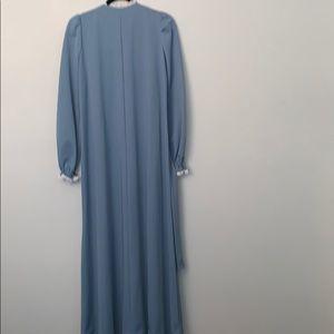 Vintage Dresses - Vintage Maxi Dress Size S M  Blue Prairie Flowers